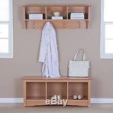 maple triple cubby storage bench u0026 entryway coat rack set hooks