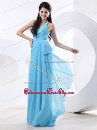 quince dama dresses custom made floor length halter top chiffon damas dresses for