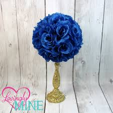 centerpiece royal blue rose pomander glitter gold vase royal