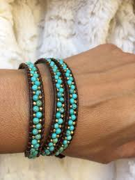 fashion bracelet ebay images New chan luu white turquoise and gold nuggets mix 3 x wrap jpg