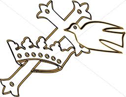 cross in a crown with dove clipart