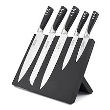 magnetic for kitchen knives amazon com knife set with magnetic block stand 6