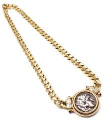 large gold link necklace images Bulgari large ancient roman coin ruby diamond gold link necklace JPG