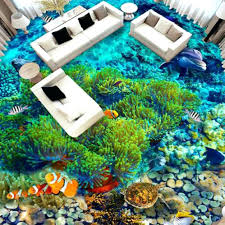 fish coral coralal sea world pvc flooring roll self adhesive