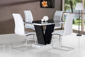 Glass Dining Sets 4 Chairs Black And White Dining Chairs Dining Room Gregorsnell Black And
