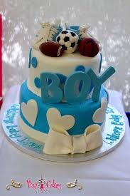 baby boy shower cake ideas baby shower cake boy blue sports soccer football basketball shoes