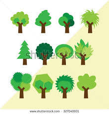 set different simple trees stock vector 327040931