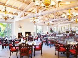empty dining room of fancy restaurant at luxury resort hotel in