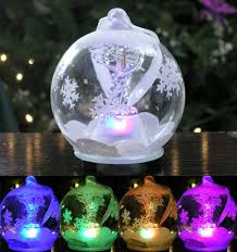 led caduceus glass globe ornament