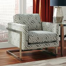 Grey And White Accent Chair Calypso Grey White Geometric Accent Chair For 349 94 Furnitureusa