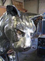 metal lion sculpture custom mountain lion fabricated metal sculpture by jacob dean