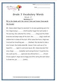 grade 3 vocabulary worksheets week 17 lets share knowledge