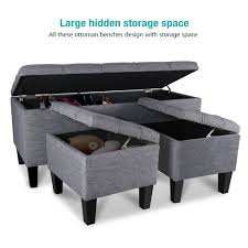 Large Ottoman Storage Bench by 3 Piece Linen Storage Ottoman Bench Modern Ottoman Storage Stool
