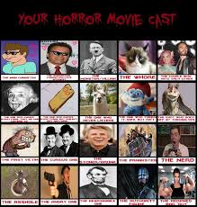 Horror Movie Memes - my horror movie cast meme by cookie lovey on deviantart