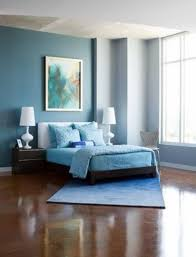 bedroom with modern furniture and two tone walls good interior