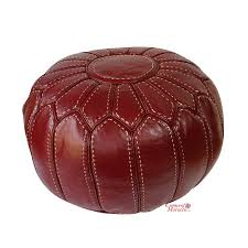 Ottoman Morocco Moroccan Pouffe Pouf Ottoman Footstool Stuffed Genuine Burgundy