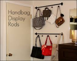 curtain rods and shower curtain hooks for purse storage and
