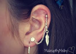heart cartilage earring 57 helix to lobe chain earring tiny heart cartilage chain