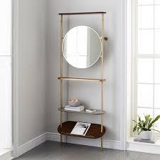 brass entryway coat rack mirror
