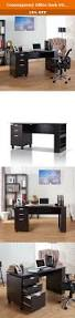 Espresso Computer Desk With Hutch by Contemporary Office Desk With Built In File Storage Cabinet