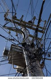 Messy Wires Messy Cable Electricity Post Chiang Mai Stock Photo 365228210