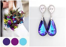 turquoise bridal earrings peacock wedding earrings purple turquoise earring peacock