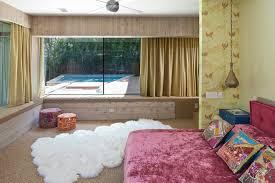 Faux Fur Area Rugs Diamond Pendant Lighting In Bohemian Style Bedroom With Faux Fur