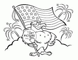 funny eagle with flag of america coloring page for kids coloring