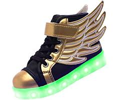 light up shoes gold high top amazon com riy wings velcro high top charging sneakers kids 7