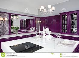 luxury kitchen furniture modern purple kitchen with stylish furniture stock image image