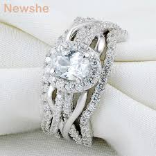 oval wedding rings newshe oval shape cz 3 pcs solid 925 sterling silver halo wedding