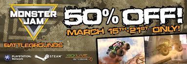 monster truck video games xbox 360 monster jam battlegrounds on sale now monster jam