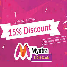 discount e gift cards flat 15 discount on myntra e gift cards woohoo dealsbee