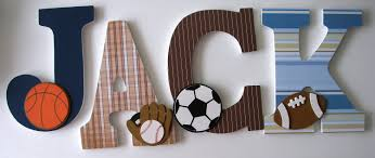 Sports Nursery Wall Decor Hanging Wooden Letters Sports Theme Baseball Football Soccer