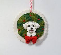 this adorable carefully painted maltese ornament is made