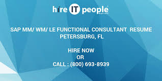 Sample Resume For Sap Mm Consultant by Sap Mm Wm Le Functional Consultant Resume Petersburg Fl Hire It