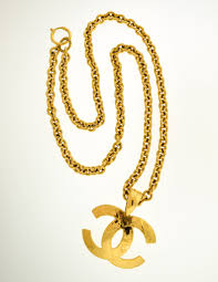 gold necklace vintage images Chanel vintage gold quilted cc logo pendant necklace from jpg
