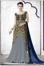 bridal wear bridal wear lehenga choli in grey colour