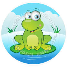 cartoon happy frog with lily pad by cartoongalleria toon vectors