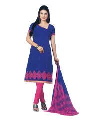 didi boutique unstitched blue and pink combination cotton dress