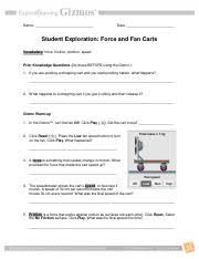 force and fan carts gizmo answer key forcefancartsse name rhiannon date student exploration force and