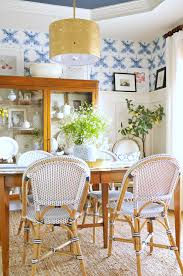 a dining room refresh with wallpaper suburban bees