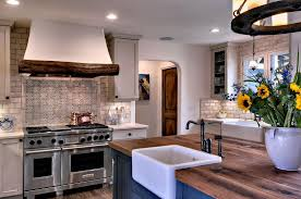this kitchen features columbia cabinetry in linen and cottage blue this kitchen features columbia cabinetry in linen and cottage blue finishes it has a butcher