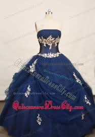 quincea eras dresses strapless applique gown sweet sixteen dress in navy blue