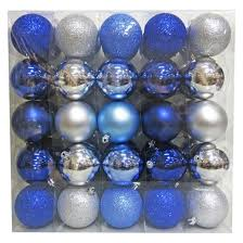 50ct 70mm blue silver blue ornament set
