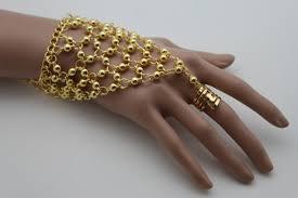 bracelet gold style images Gold silver hand chain bracelet slave ring ethnic belly dance jpg