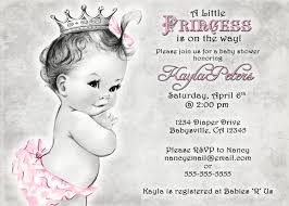 vintage baby shower invitation for princess crown