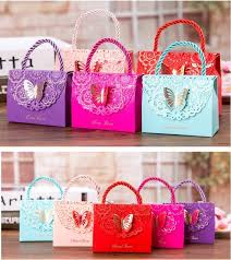 wedding gift price lowest price high grade hollow butterfly candy gift bag handle