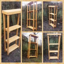 5 foot tall rustic four shelf bookcase primitive bookshelf by