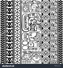 vector set mayan aztec glyphs ancient stock vector 362834504